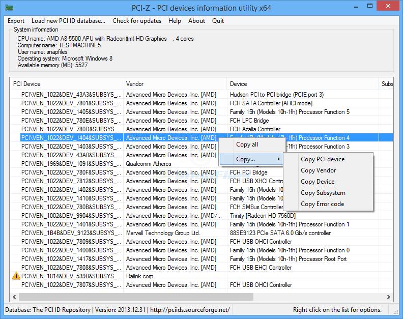 PCI-Z screenshot and download at SnapFiles com