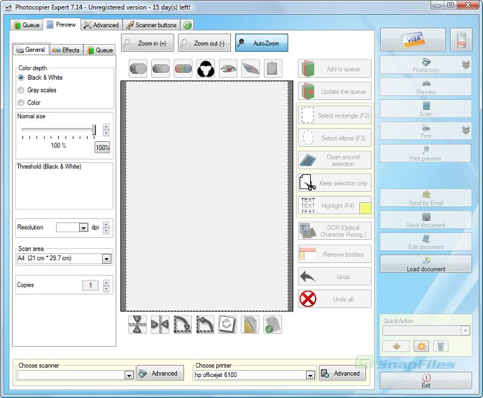 screen capture of Photocopier Expert