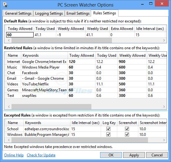 screen capture of PC Screen Watcher