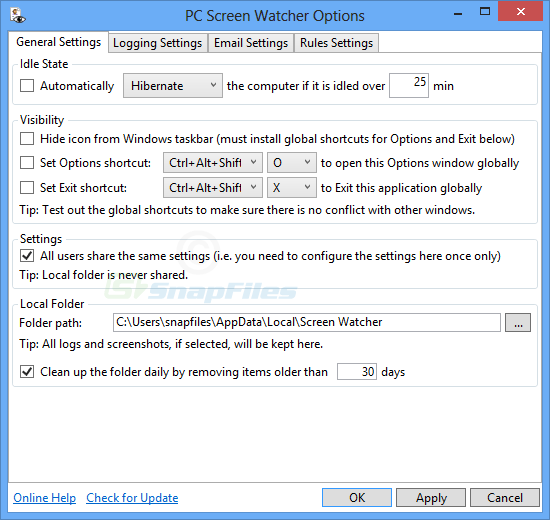 screenshot of PC Screen Watcher