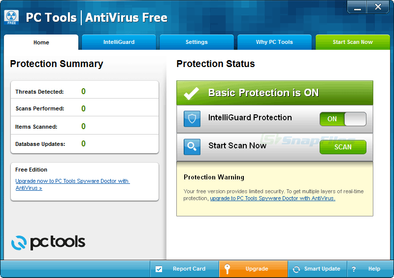 screen capture of PC Tools AntiVirus Free Edition