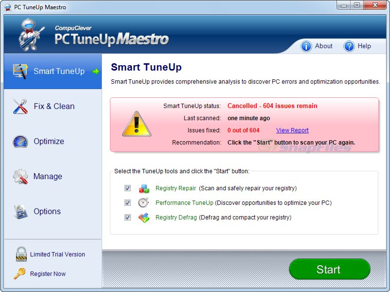 screen capture of PC TuneUp Maestro
