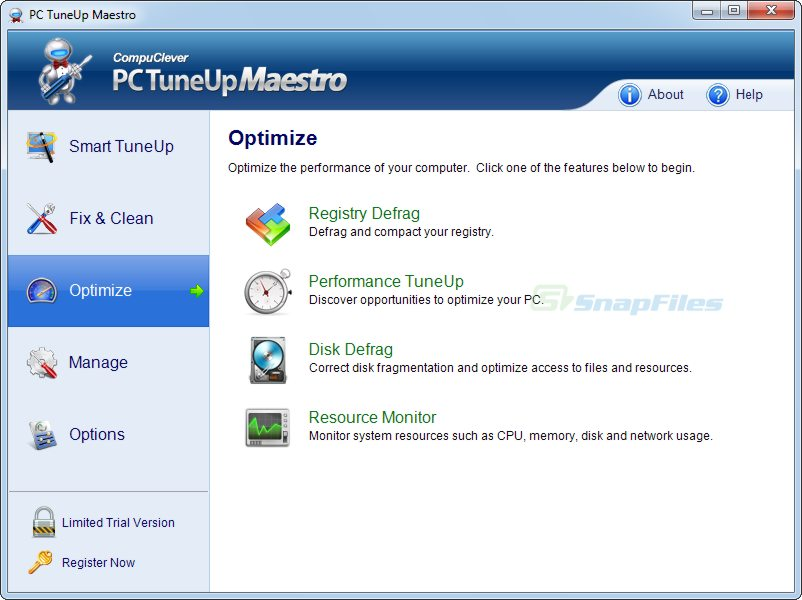 screenshot of PC TuneUp Maestro
