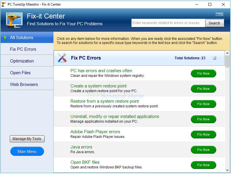 screenshot of PC TuneUp Maestro