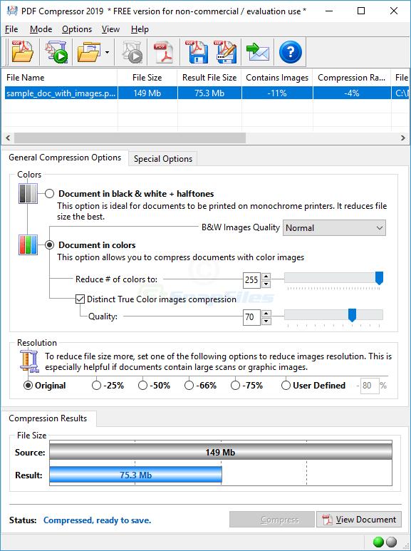 screen capture of PDF Compressor