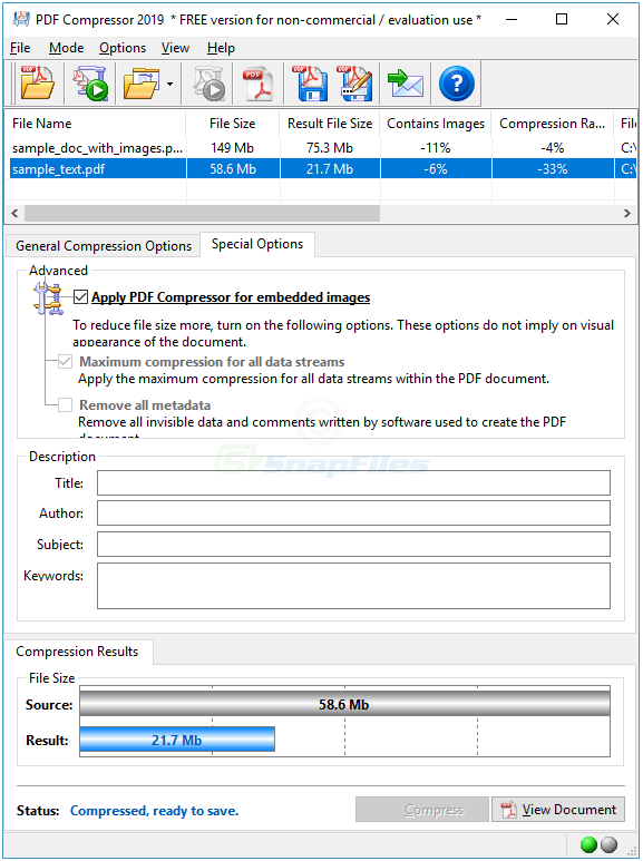 screenshot of PDF Compressor