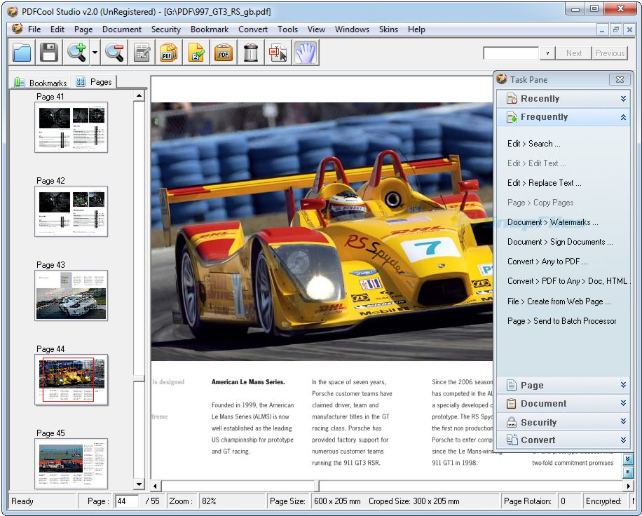 screen capture of PDFCool Studio
