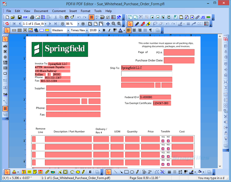 screen capture of PDFill PDF Editor