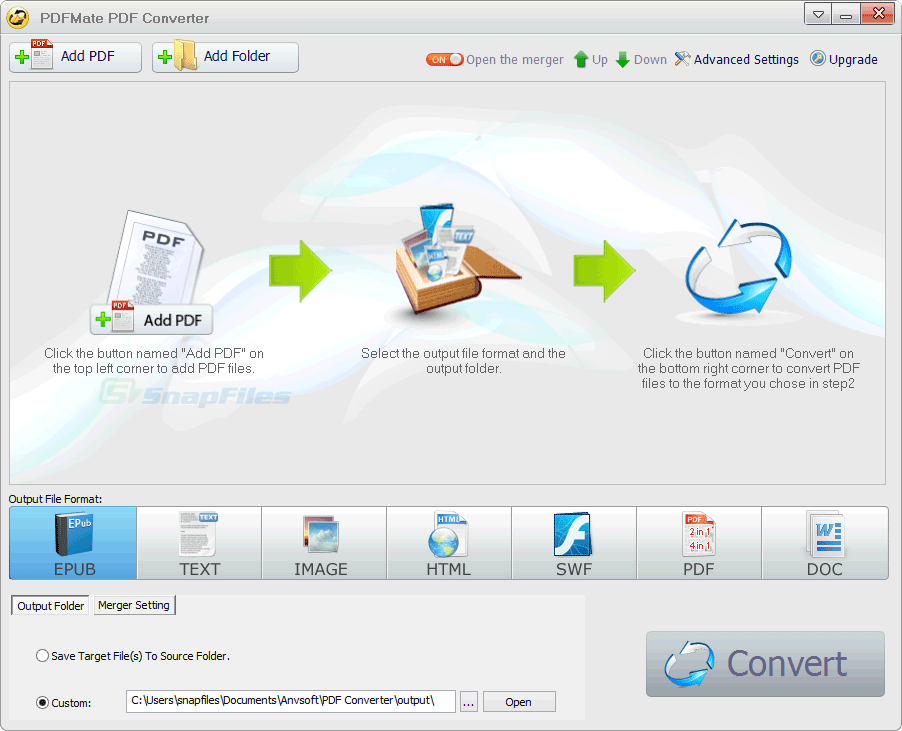 screen capture of PDFMate PDF Converter Free