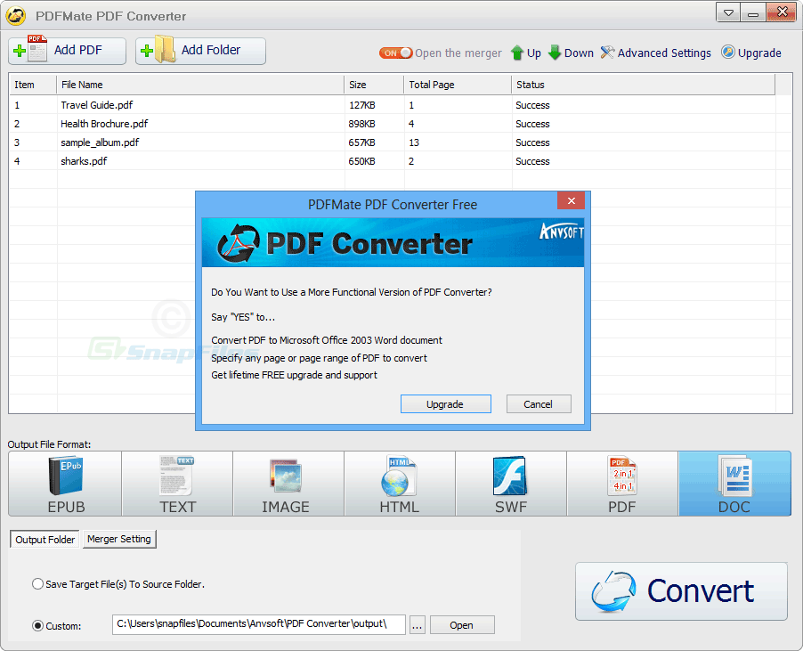 screenshot of PDFMate PDF Converter Free