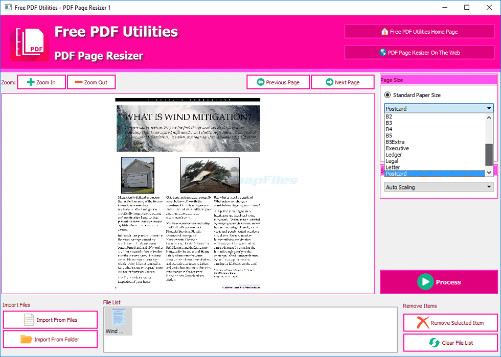 screen capture of PDF Page Resizer