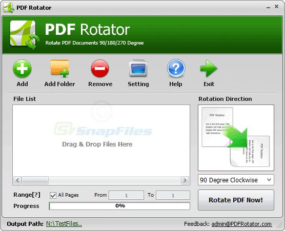 screen capture of PDF Rotator