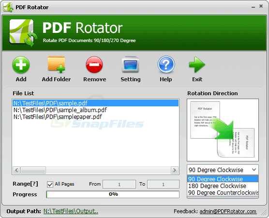 screenshot of PDF Rotator