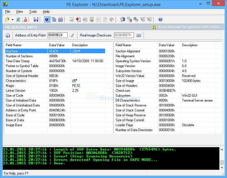 screen capture of PE Explorer