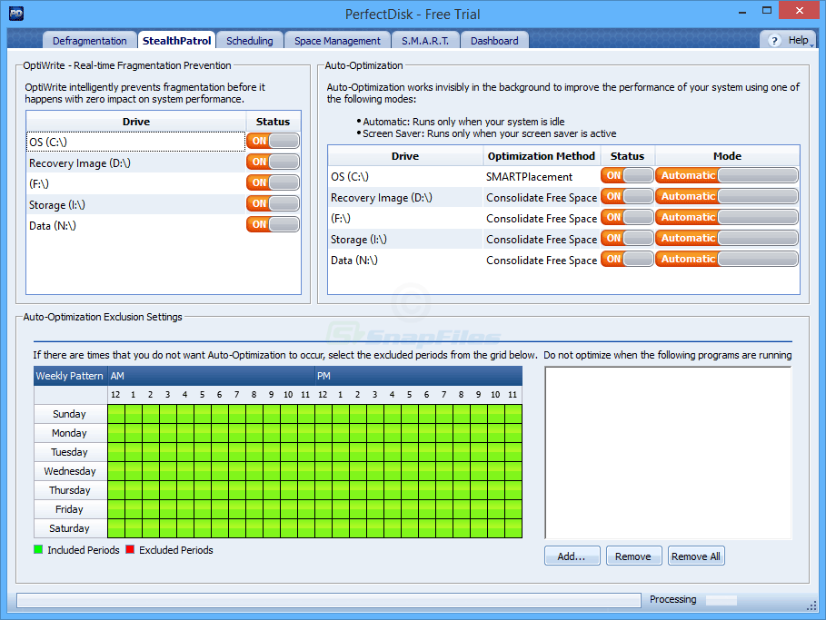 screenshot of PerfectDisk Pro