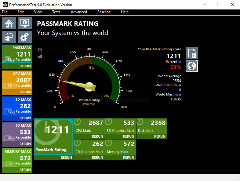 screen capture of PassMark PerformanceTest