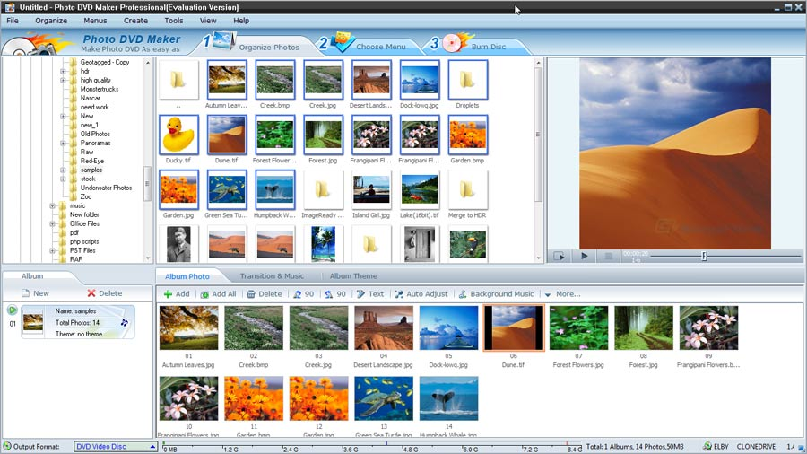 screen capture of AnvSoft Photo DVD Maker