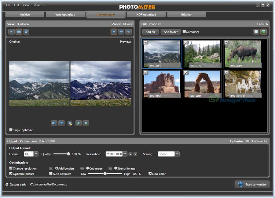 screen capture of Photomizer