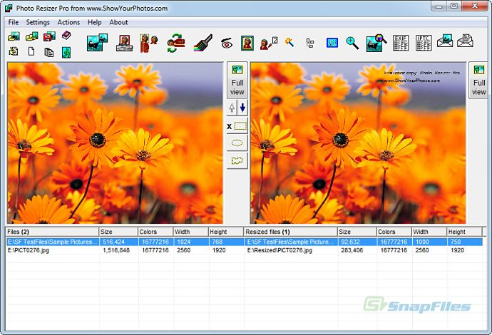 screen capture of Photo Resizer Pro
