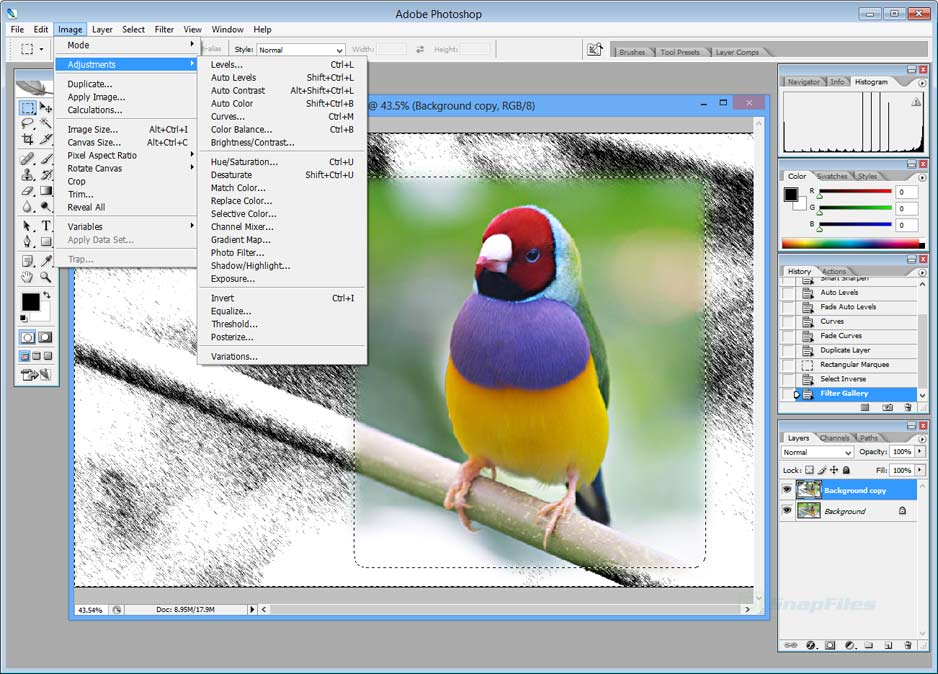 screen capture of Adobe Photoshop CS2