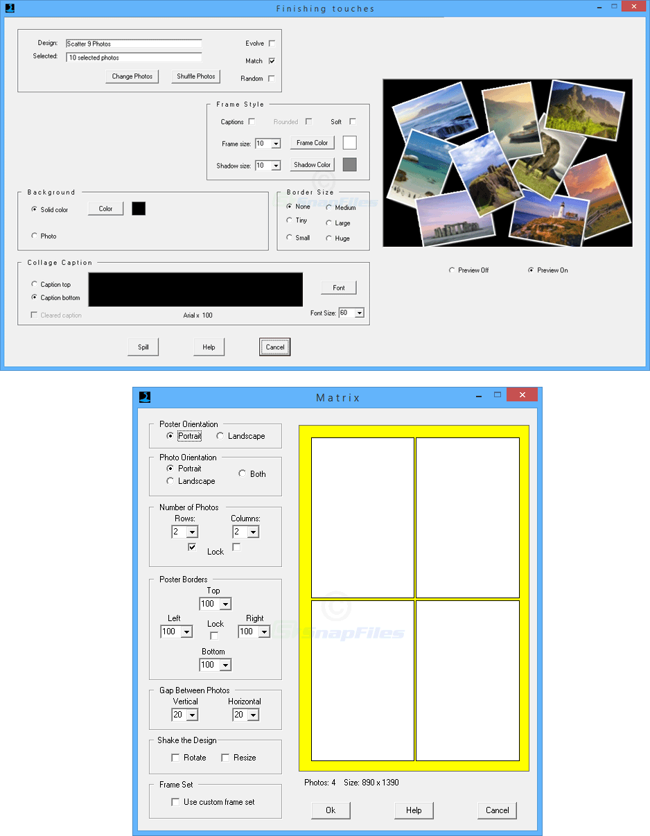 screenshot of PhotoSpills