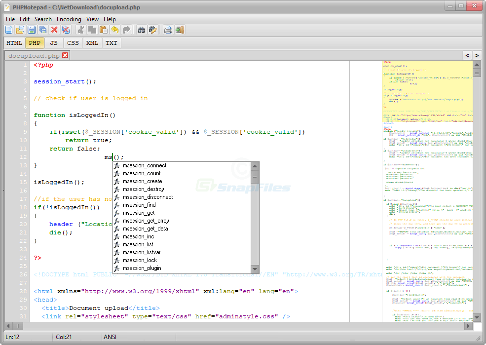 screen capture of PHPNotepad
