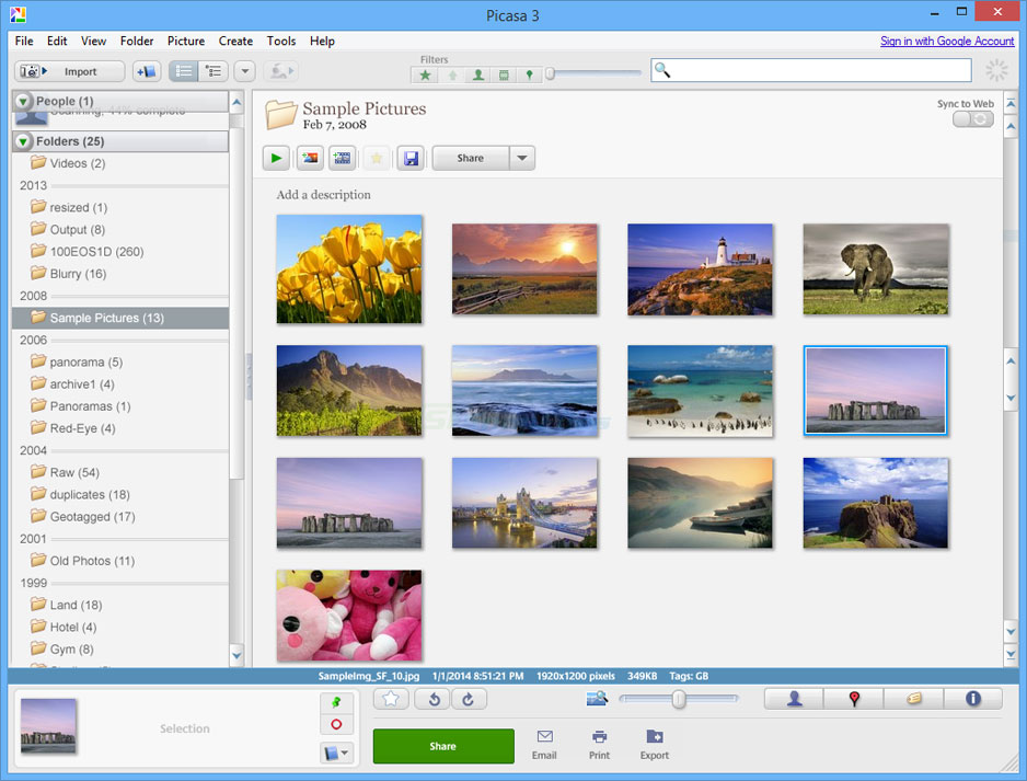 screen capture of Picasa