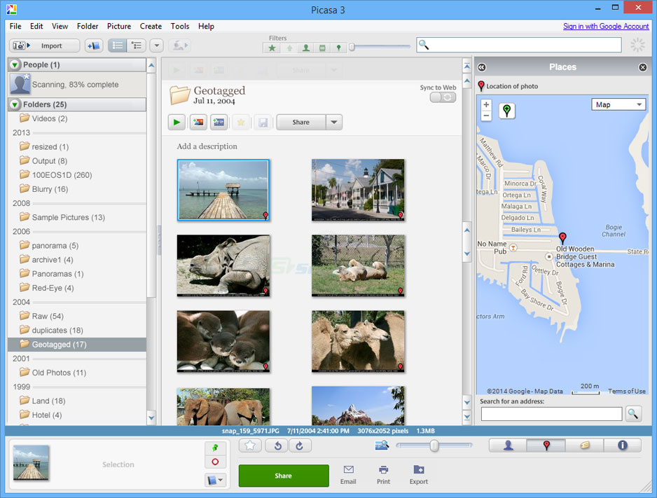 screenshot of Picasa