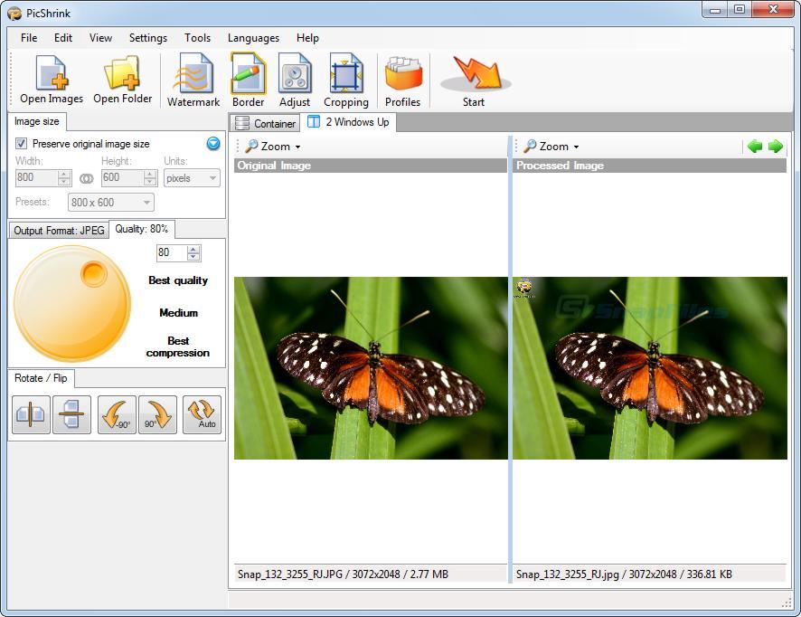 screen capture of PicShrink