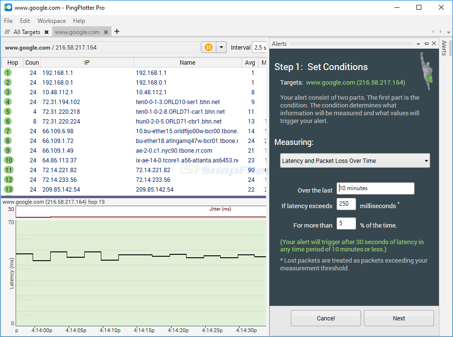 screenshot of Ping Plotter