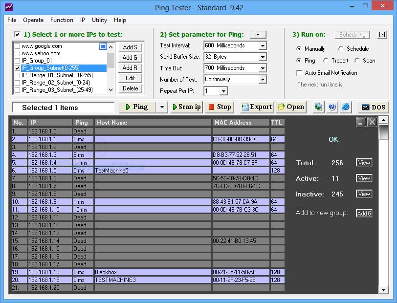 screenshot of Ping Tester