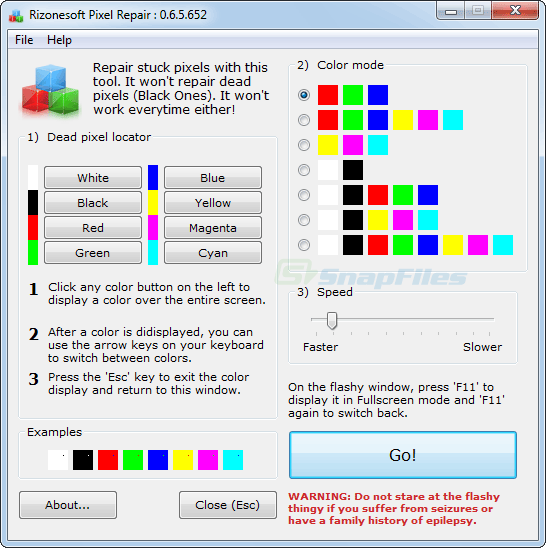 screen capture of Rizonesoft Pixel Repair