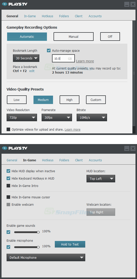 screenshot of Plays.tv Client
