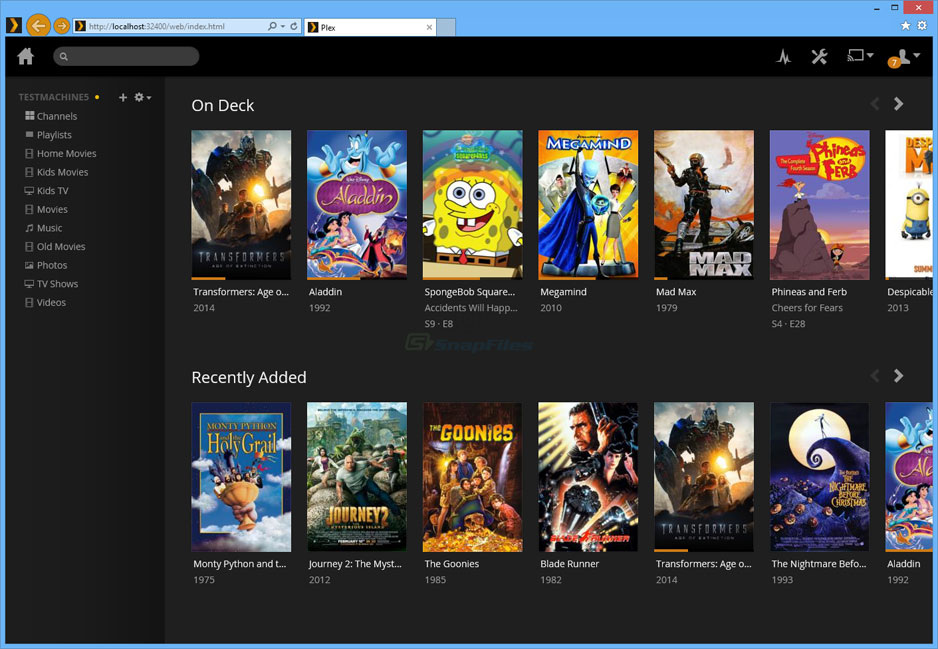screen capture of Plex Media Server