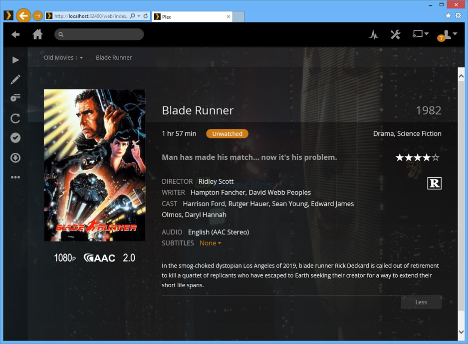 screenshot of Plex Media Server