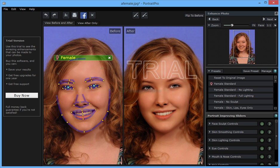 screen capture of PortraitPro