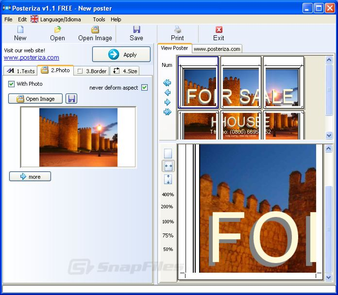 screen capture of Posteriza