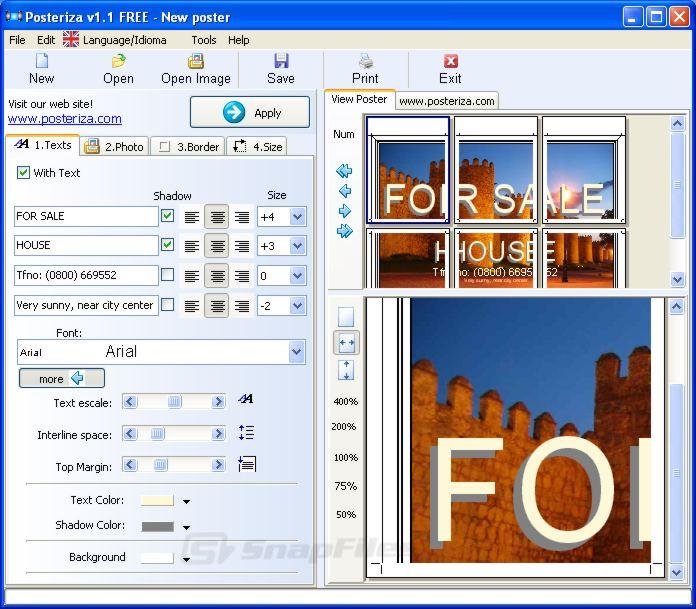 screenshot of Posteriza