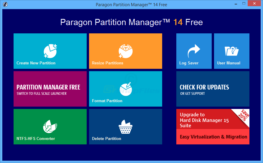 screen capture of Paragon Partition Manager Free
