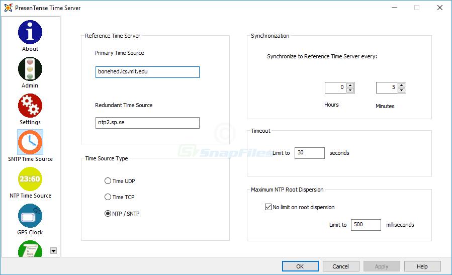 screenshot of PresenTense Time Server