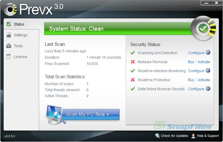 screenshot of Prevx CSI