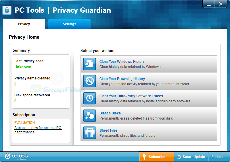 screen capture of Privacy Guardian