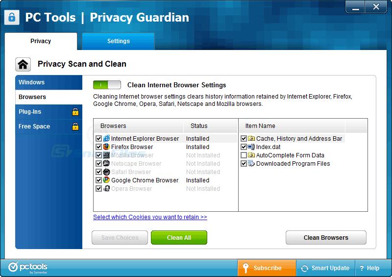 screenshot of Privacy Guardian