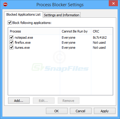screen capture of Process Blocker