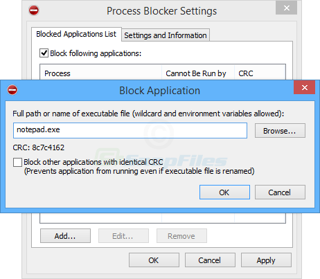 screenshot of Process Blocker