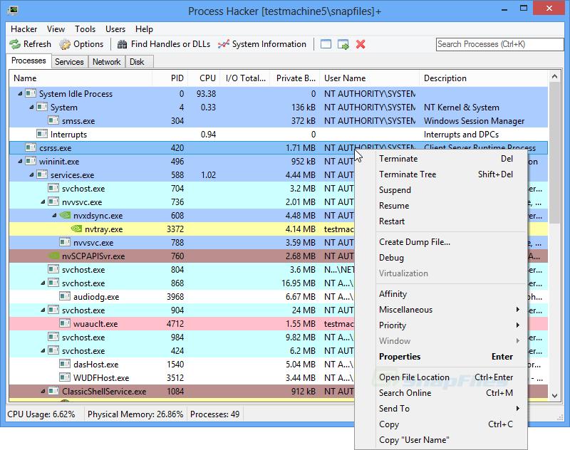 screen capture of Process Hacker