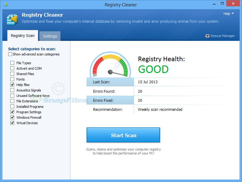 screenshot of Pointstone Registry Cleaner