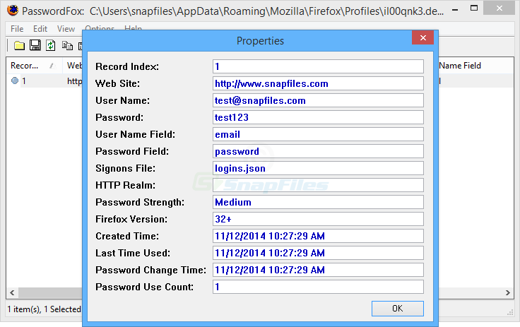 screenshot of PasswordFox