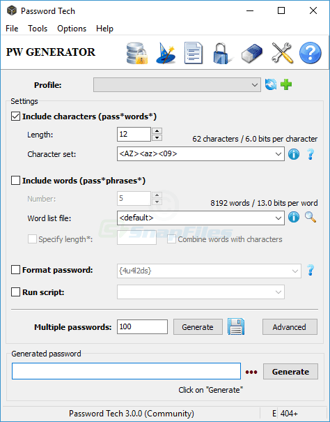 screen capture of Password Tech