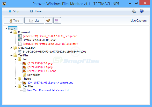screen capture of Phrozen Windows File Monitor